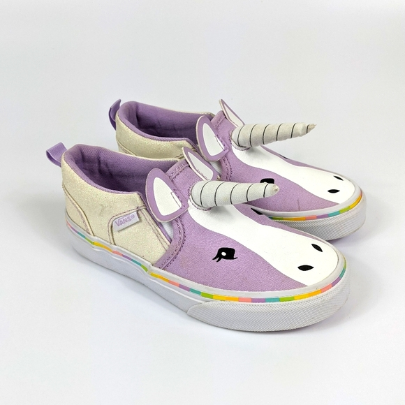 Girls Purple Unicorn Sneakers Size